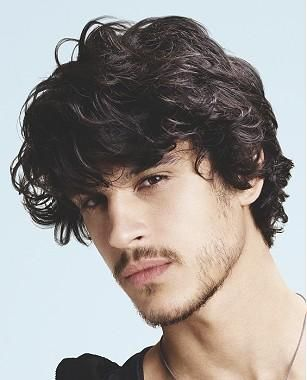 A Medium Black Wavy Defined Fringe Messy Men Haircut Hairstyle By