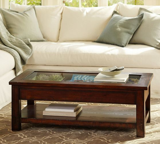 Beautiful Benchwright Display Coffee Table | Pottery Barn Great Color Scheme!
