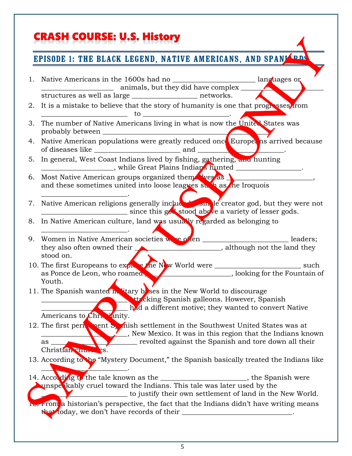 small resolution of Crash Course U.S. History Worksheets make teaching \u0026 learning fun! A mix of  T/F