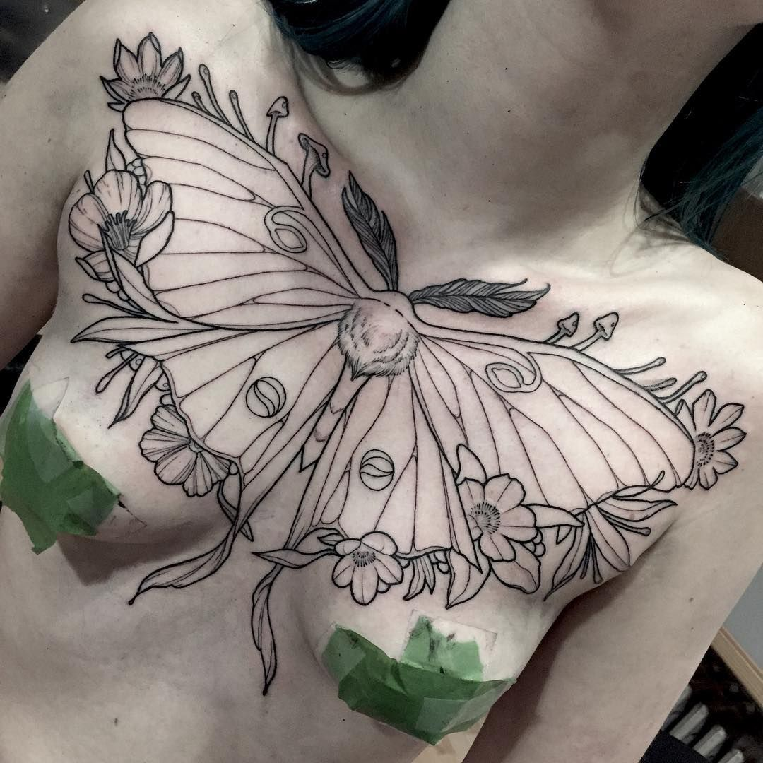I Don T Always Tattoo Spooky Things I Got To Start This Big Luna Moth Chestpiece Last Night Tattoo Ta Tattoos Chest Piece Tattoos Always Tattoo