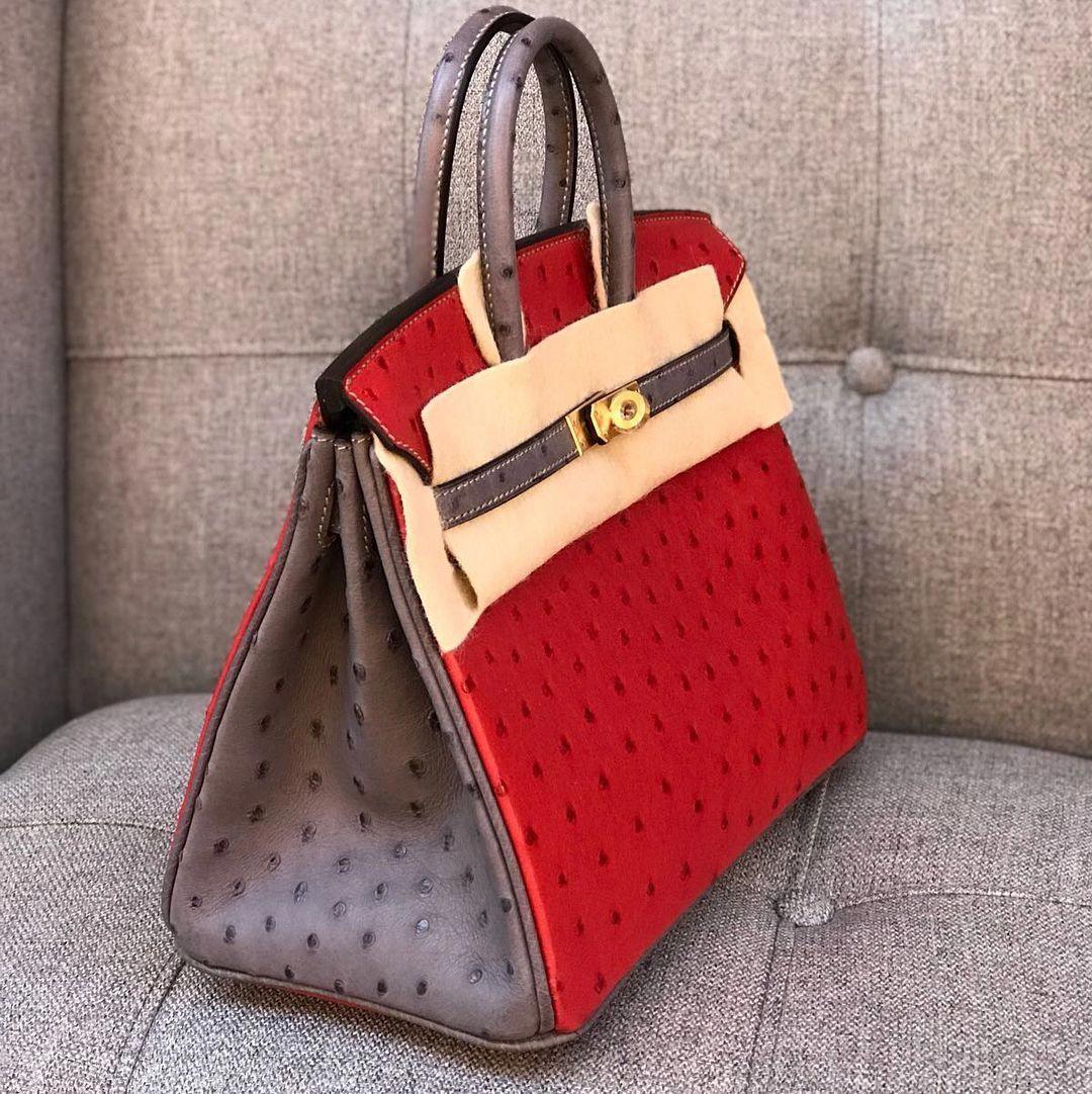 Hermès Birkin 21 Special Order Ostrich Rouge Vif and Ashplat ...