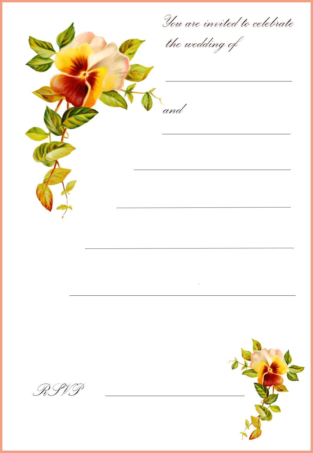 Free Printable Wedding Clip Art – Printable Wedding Invitation Cards