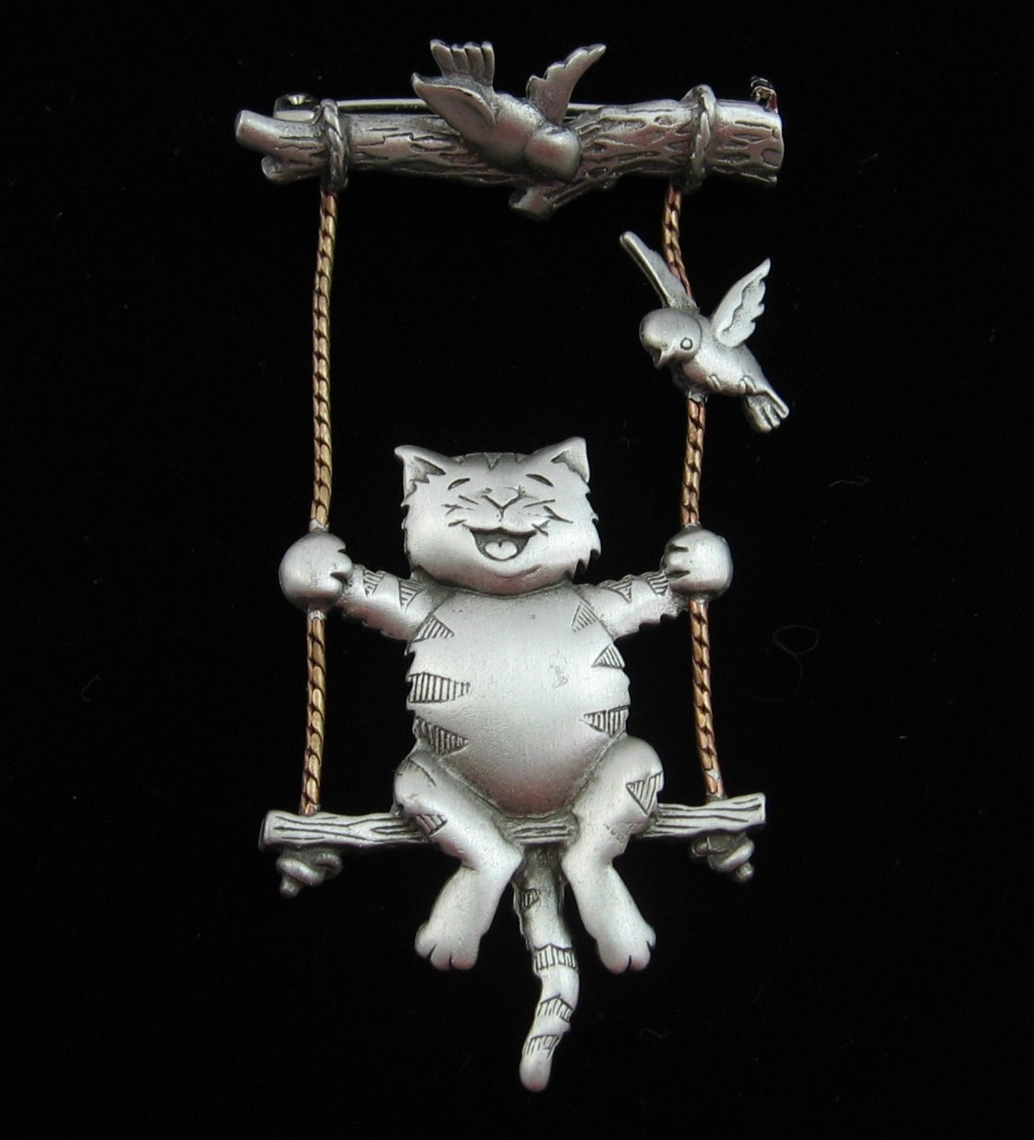 Jj Cat Swinging From Tree Branch Brooch Vintage Pin Kitten Bird Kitteh Pewter Cat Jewelry Jewelry Gifts Cat Lover Gifts