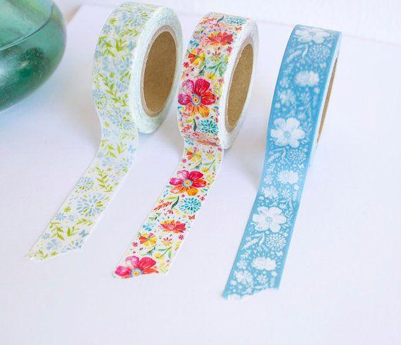 Washi Tape Set Masking Tape Floral Katie Daisy Office Etsy Washi Tape Ideas Manualidades Articulos Escolares