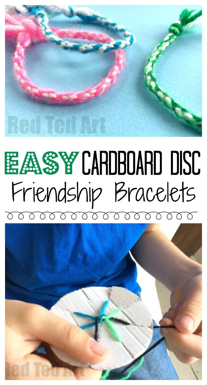 How to make a bracelet with yarn and cardboard