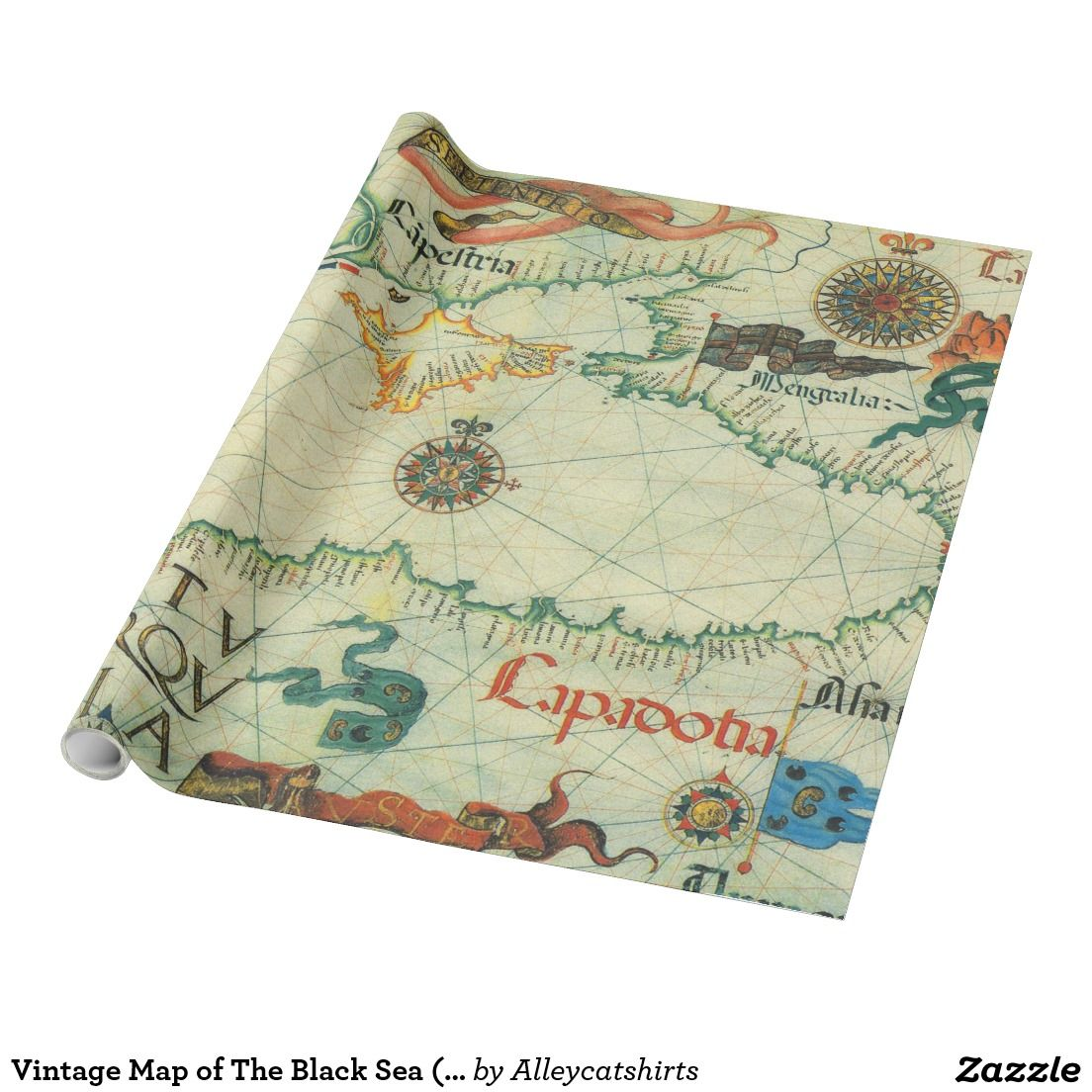 Vintage Map of The Black Sea 1559 Wrapping Paper