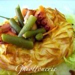 insalata con polipo e fagiolini in corona di patate duchessa