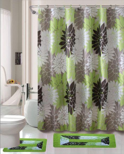 Erica 15 Piece Shower Curtain Set Bathroom Curtain Set Shower