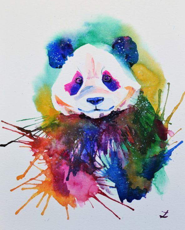artfinder panda splash by zaira dzhaubaeva colorful panda the