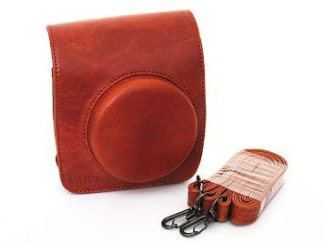 V13 Vintage Leather Case Bag Brown with Shoulder Strap for Fuji Fujifilm Instax Mini 90 Film Camera New