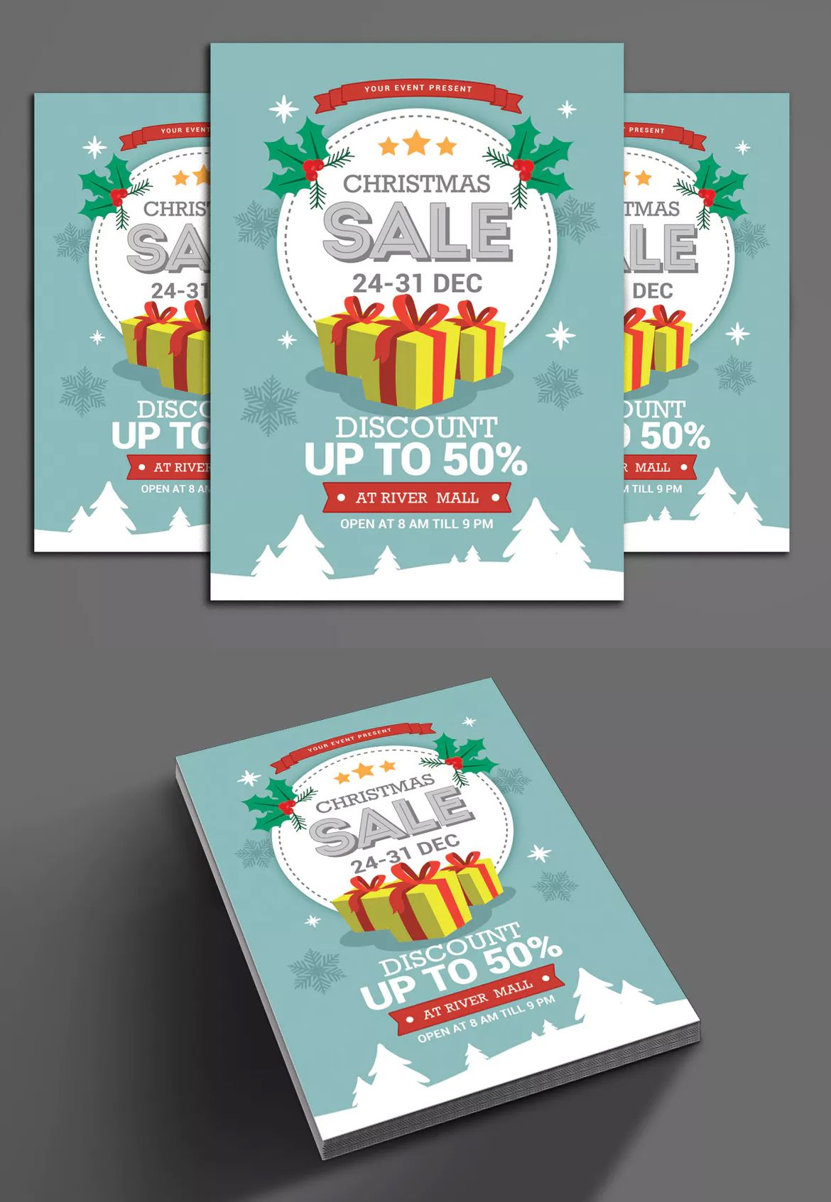 Christmas Sale Flyer Template Dimensions 8 27x11 69 in size with