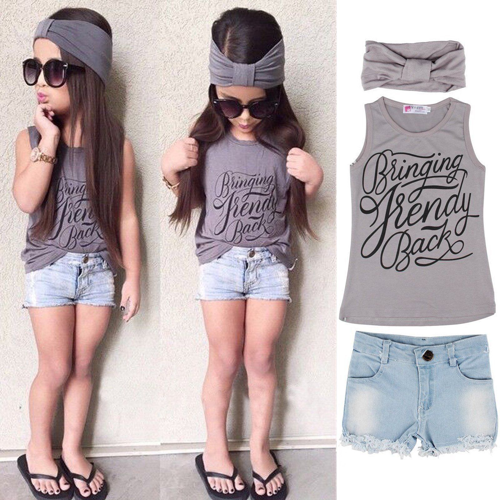 Details about Outfits & Sets Kids Toddler Baby Girl Headband+Top T-shirt+Jeans Pants Clothes