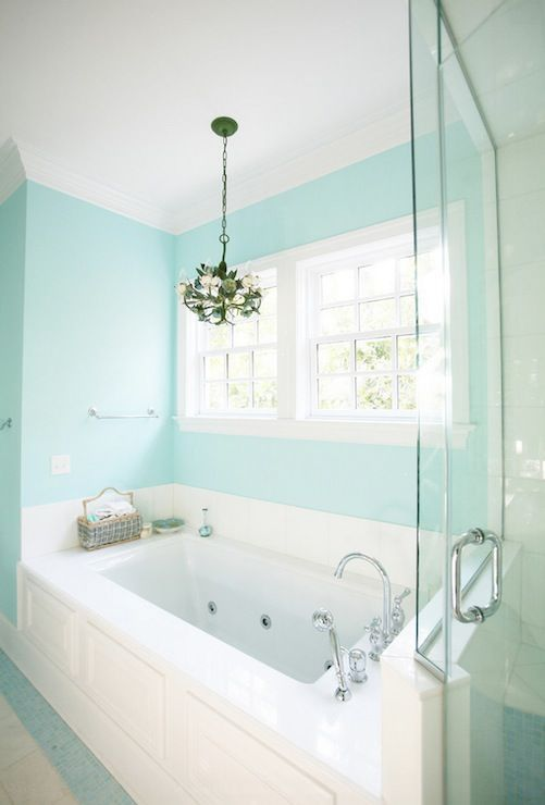 Simple Tiffant colored wall in the bathroom Very relaxing Beautiful - Review relaxing bathroom colors Top Design