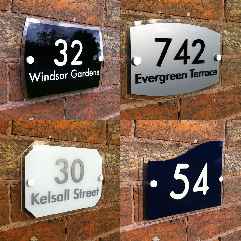 Modern house sign door number street address acrylic plaque
