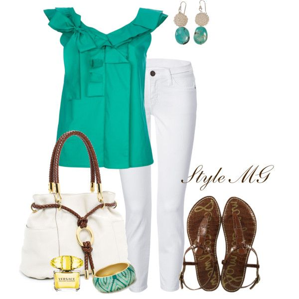 Aqua, white and brown summer chic