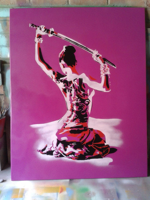 Painting ofJapanese nude Geisha with samurai sword,stencil