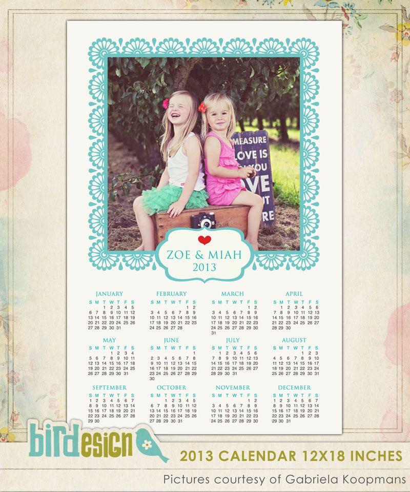 Instant Download 2013 Calendar Photoshop Template Por Birdesign