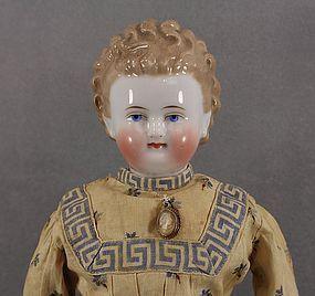 SOLD c1860 Very Rare Brown Hairstyle China Head Doll - Joy's Antique Dolls #dollshopsunited