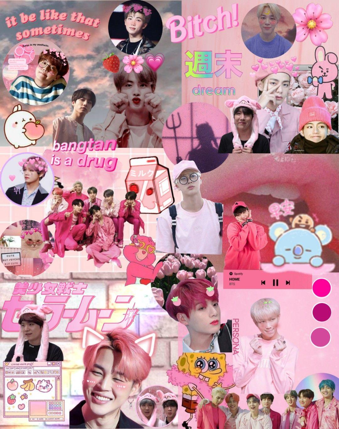 Freetoedit Bts Btsedit Aesthetic Wallpaper Aestheticwallpaper Btsaesthetic Bt21 Pi Phone Wallpaper Pink Pink Wallpaper Desktop Pretty Wallpaper Iphone Bts pink aesthetic wallpaper desktop