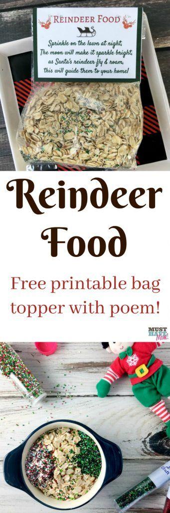 Santa's Magic Reindeer Food recipe and free printable reindeer food poem bag topper! Make this reindeer food to put out for Santa's reindeer on Christmas Eve! #reindeerfoodrecipe