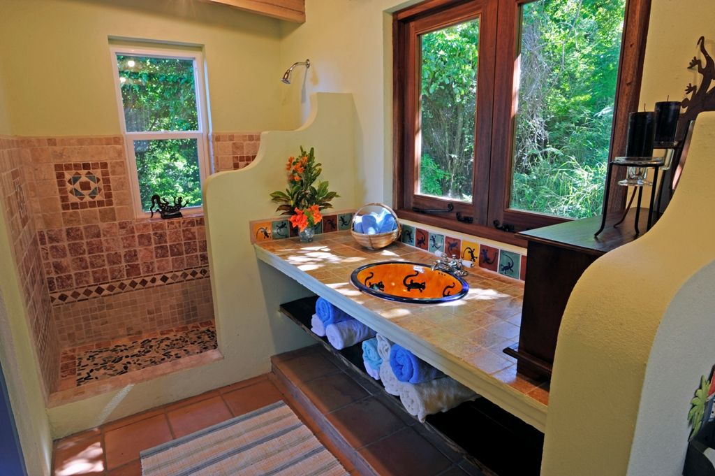 Beautiful Mexican Style Bathrooms | Bright And Colourful Bathroom With Mexican Tiles  At Limeberry Villa .