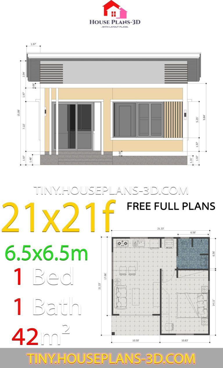 House Plans 21x21 Feet 6 5x6 5m Shed Roof Tiny House Plans House Plans Tiny House Plans One Bedroom House