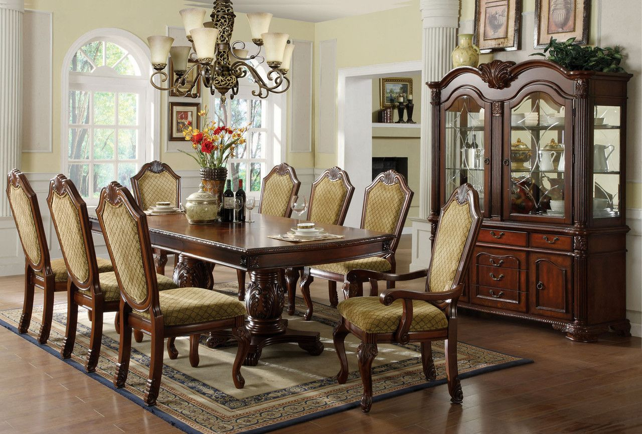 Napa Valley 9 Pcs Formal Dining Table & Chairs Set Cm3005T Simple 9 Pcs Dining Room Set Decorating Design