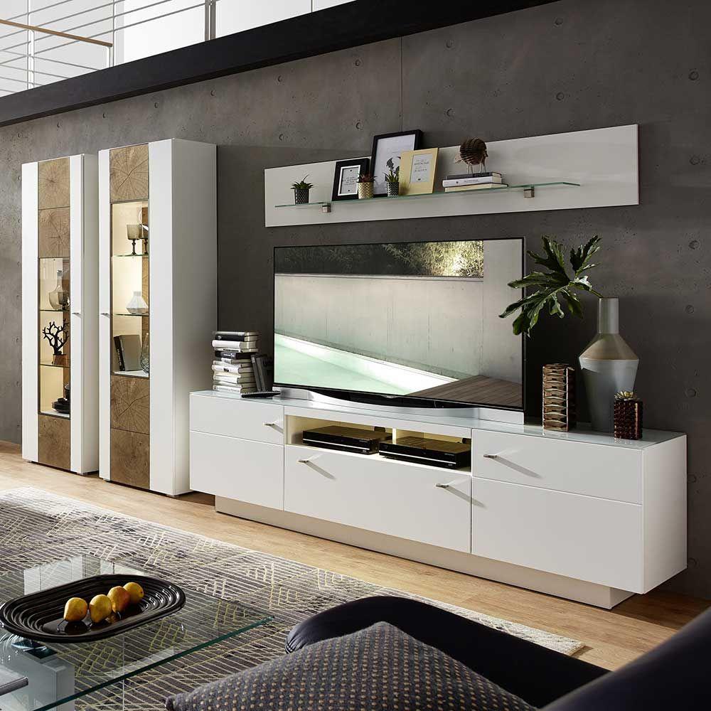 Design Wohnwand in Weiß Holz Dekor 360 cm 4 teilig Jetzt bestellen