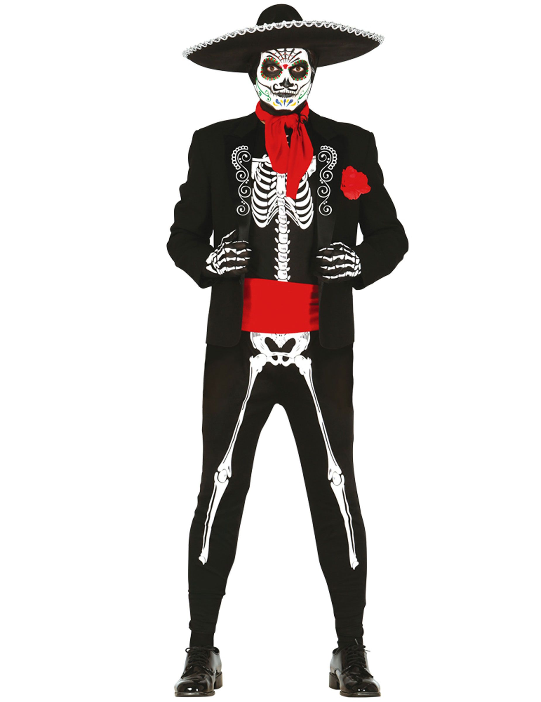 Costume scheletro messicano per uomo dia de los muertos  Questo  travestimento da scheletro messicano per d1085e95072