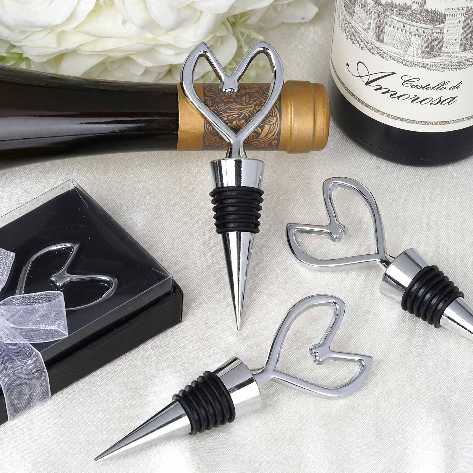Heart Bottle Stopper | eFavorMart / Add a contemporary touch to your party favors and keepsakes by presenting our chrome finish metallic Bottle Stoppers to your friends and family. The glitzy sheen of silver metal augmented by the stunning heart shape makes these bottle stoppers a perfectly elegant and voguish party favor, keepsake, or bridesmaid gift. This chrome heart shaped wine bottle stopper features a bedazzling metallic finish that glimmers like diamonds when exposed to light…