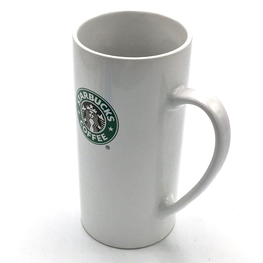Starbucks Tall Skinny Coffee Latte Mug Cup 14 oz 2008 White Green