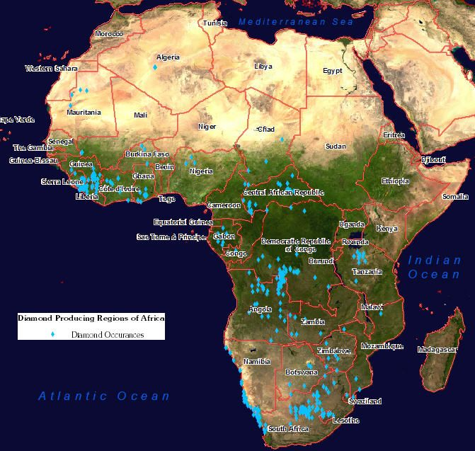 diamonds in africa map Diamond Producing Regions In Africa Africa Map North America diamonds in africa map