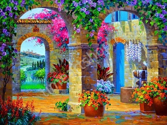 """Mikki Senkarik """"Дворик в цветах"""", картина раскраска по ..."""