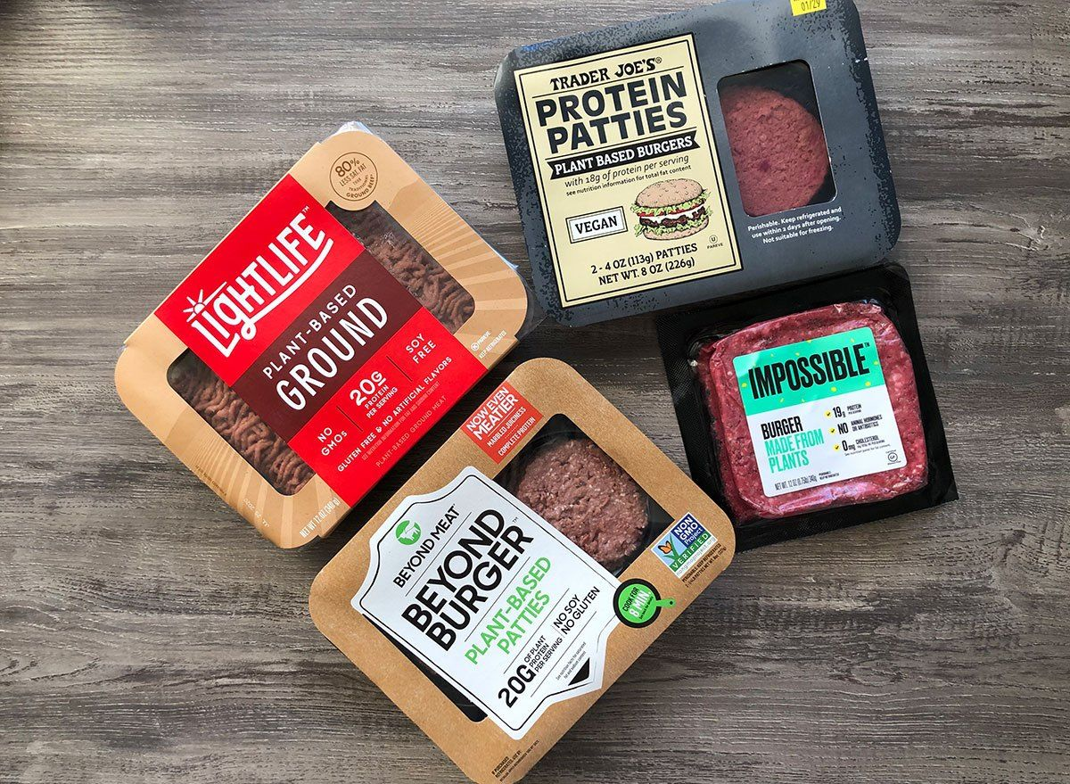 The Best Plant Based Burger Impossible Vs Beyond Vs Trader Joe S In 2020 Plant Based Burgers Trader Joes Impossible Burger