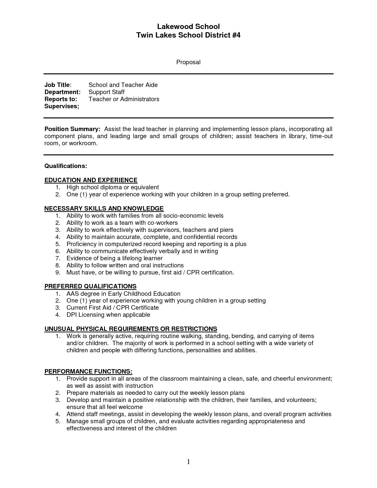 Sample Resume For Teaching Position Sample Resume Teachers Aide Assistant Cover Letter Teacher Sap .