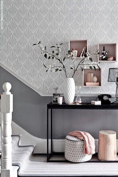 Patterned Wallpaper With Dado Rail Living Room