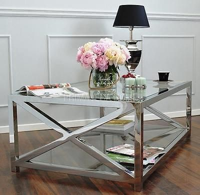 Coffee table side console stainless steel glass silver mirror