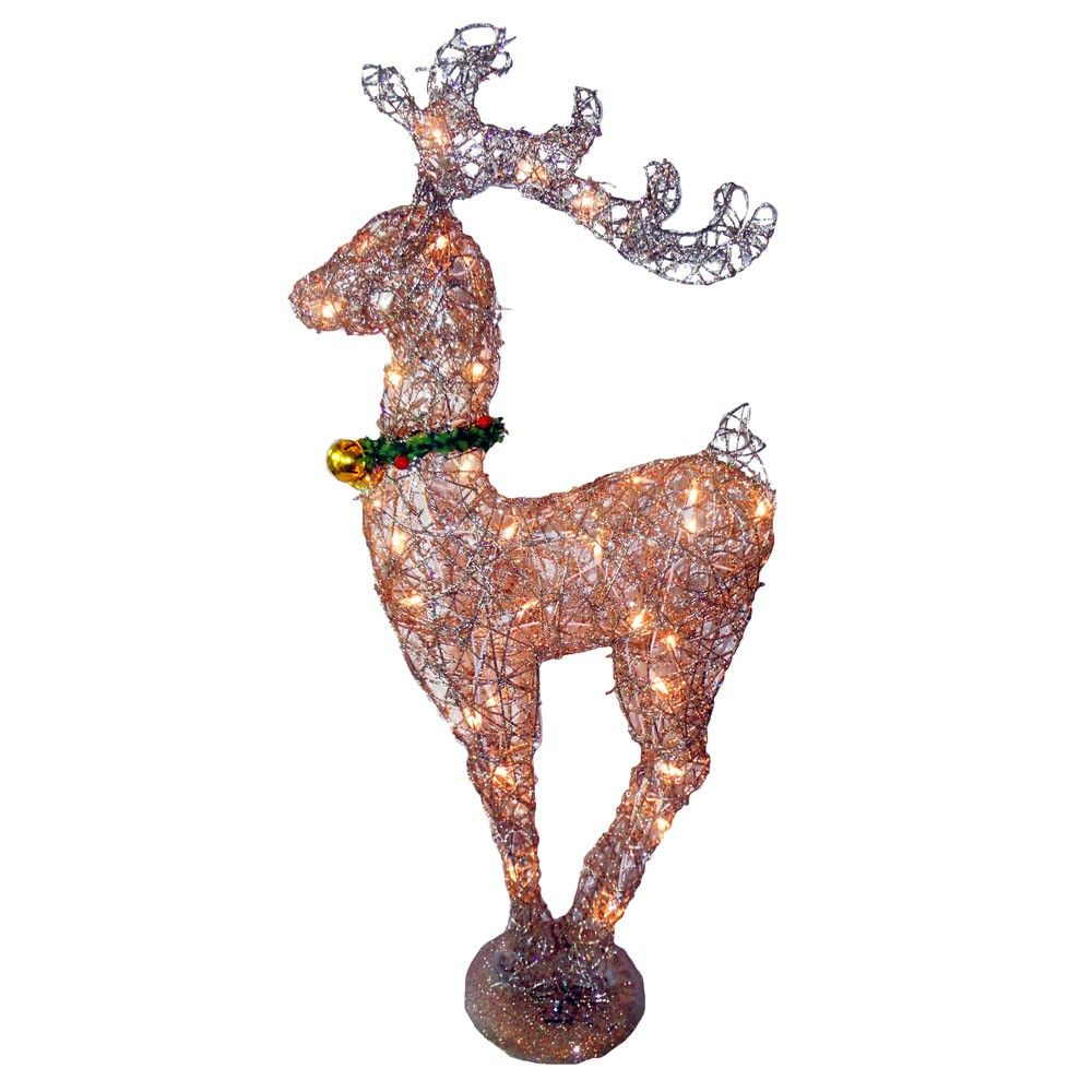36 Inch Rattan Reindeer With 35 Clear Miniature Lights