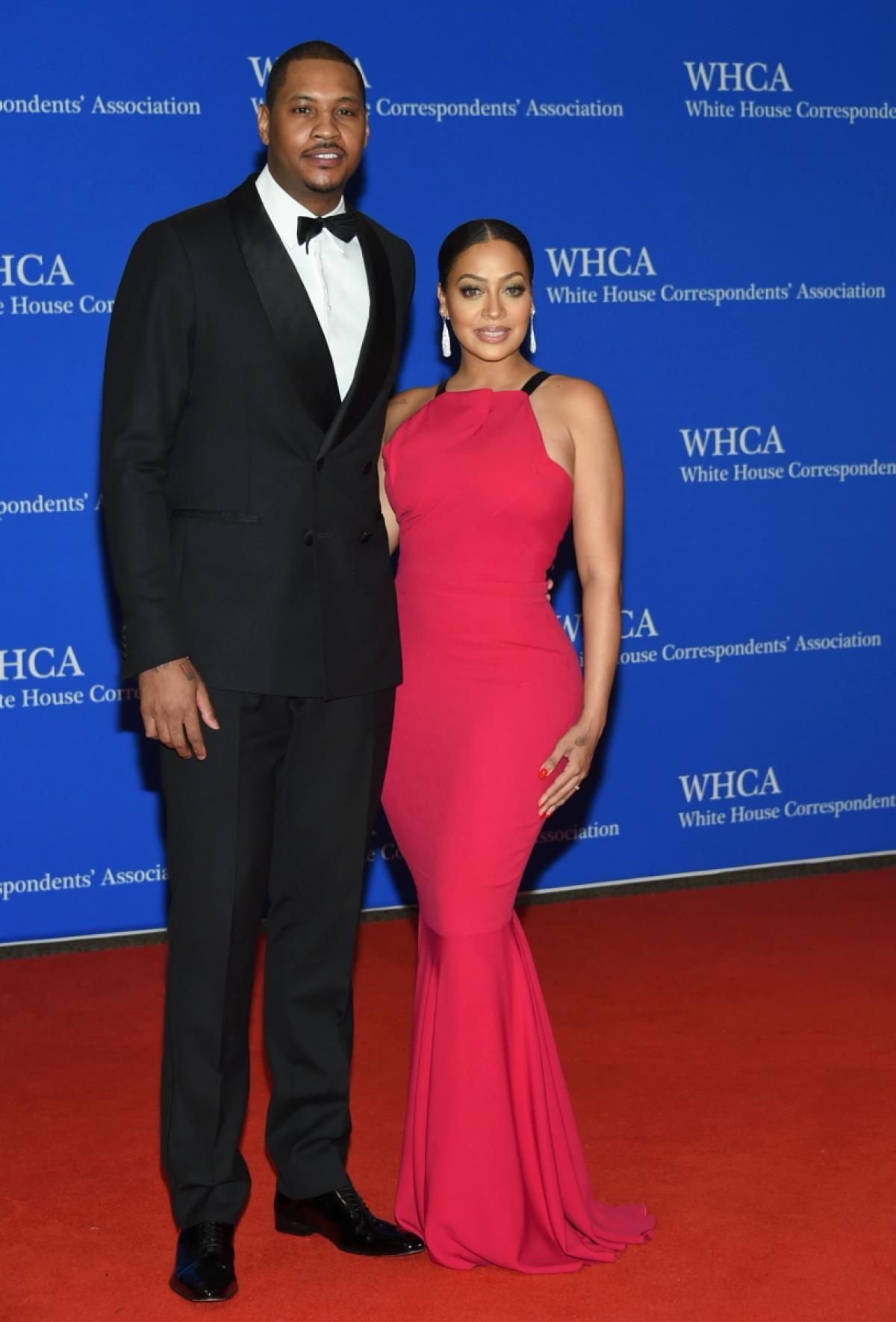Carmelo Anthony left and his stunning wife La La Anthony arrived