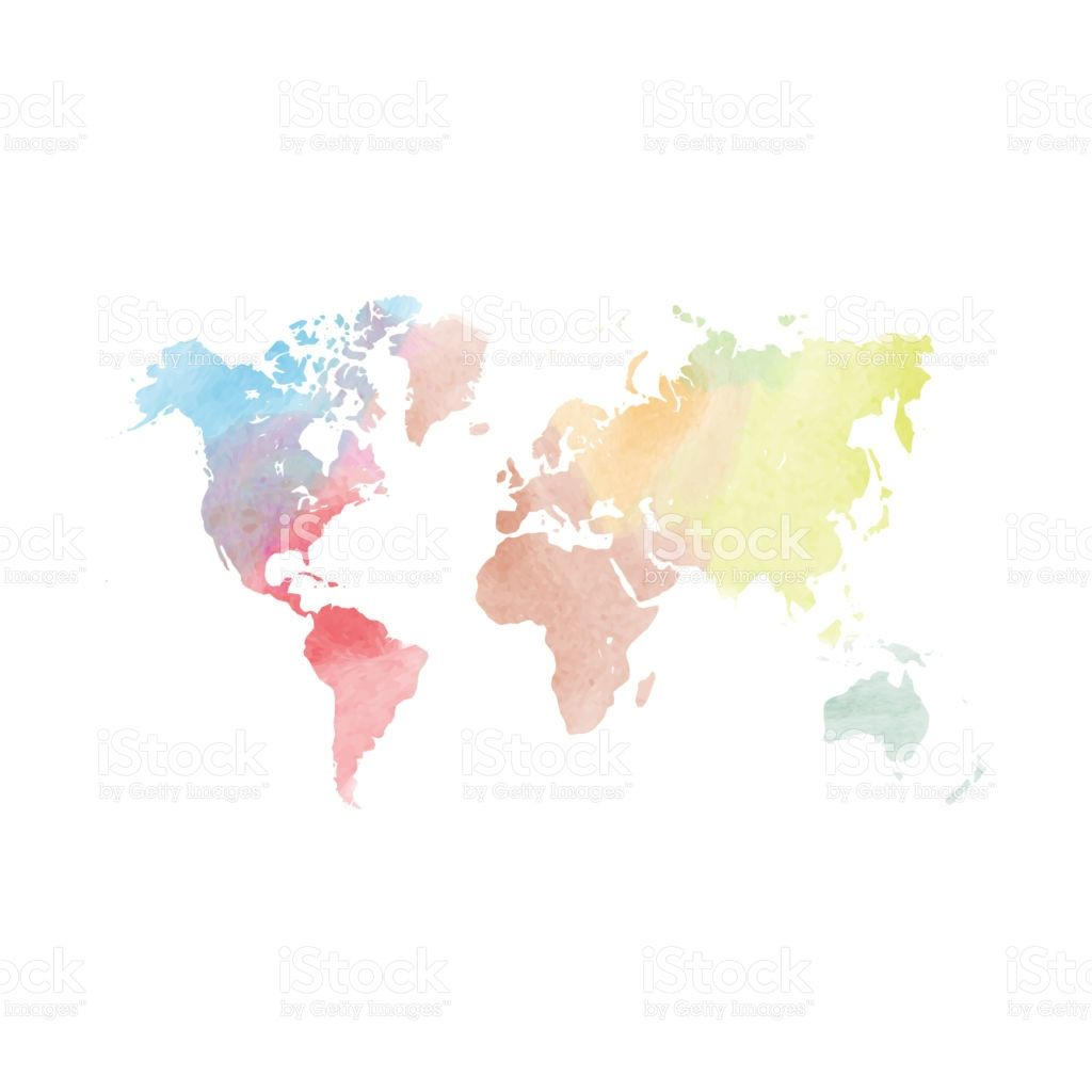 Watercolor map of World Colorful vector illustration