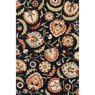 Hand-hooked Charlotte Black/ Multi Floral Rug (3'6 x 5'6) - 17721633 - Overstock.com Shopping - Great Deals on Alexander Home 3x5 - 4x6 Rugs