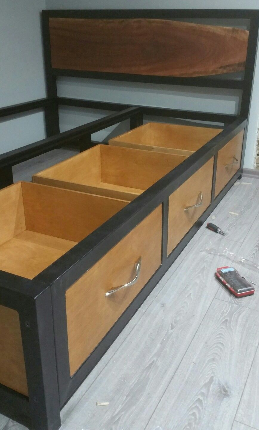 Steel Frame Bed With Storage Live Edge Headboard Bedframes Bed