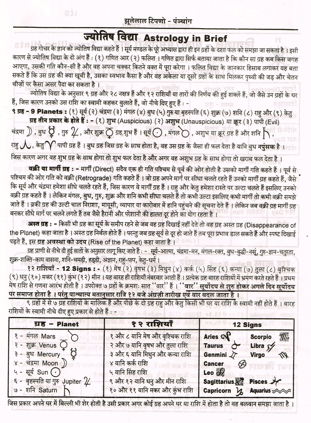 Astrology in Brief Hindi ज्योतिष विद्या   Jyotish ...