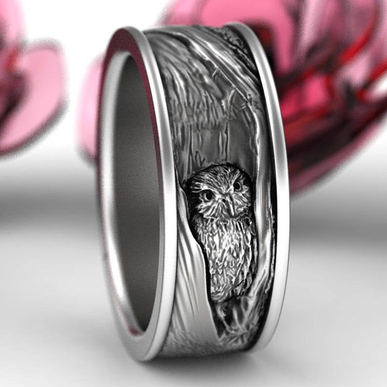 Sterling Silver Owl Wedding Ring Owl Wedding Band Tree Bark Wedding Rings Nature Inspired Wedding Ring Owl In Tree Wedding Ring 5112 In 2020 Owl Wedding Ring Sterling Silver Jewelry Rings