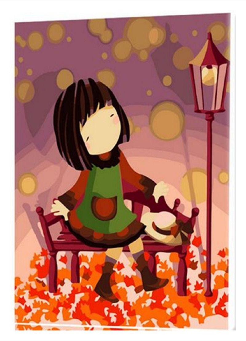 Diy pintura linda Girls fall leaves trees pintura al óleo digital de ...