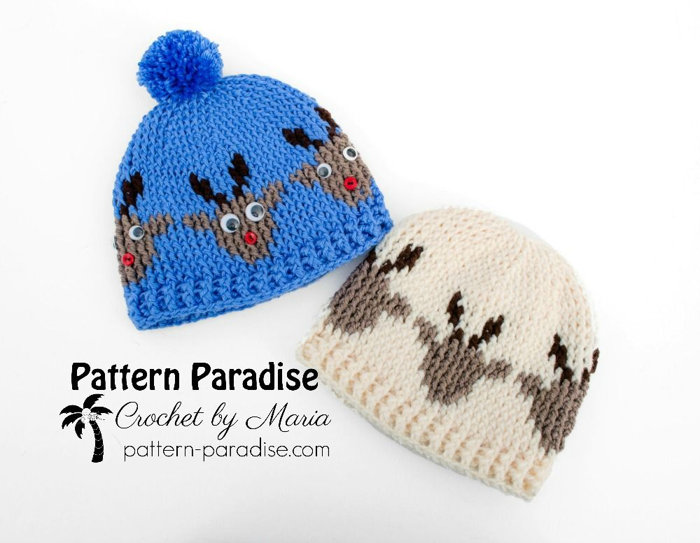 Free crochet pattern for graphed reindeer hat by pattern-paradise ...