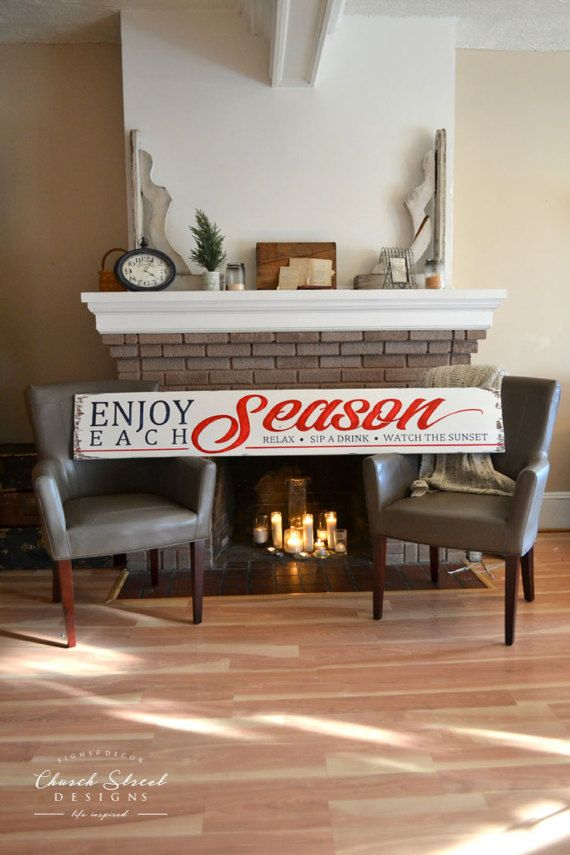 Enjoy Each Season - Cabin Decor - Beach House Decor - Bed and Breakfast Sign - Sunroom Decor - Rustic Decor - Vacation Home Decor - Customize the Colors to fit your decor - Large Art - Large Hand Painted Sign -by Church Street Designs