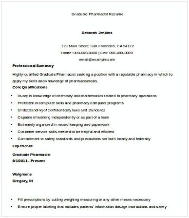 Graduate Pharmacist Resume  Pharmacy Manager Resume  If You Are