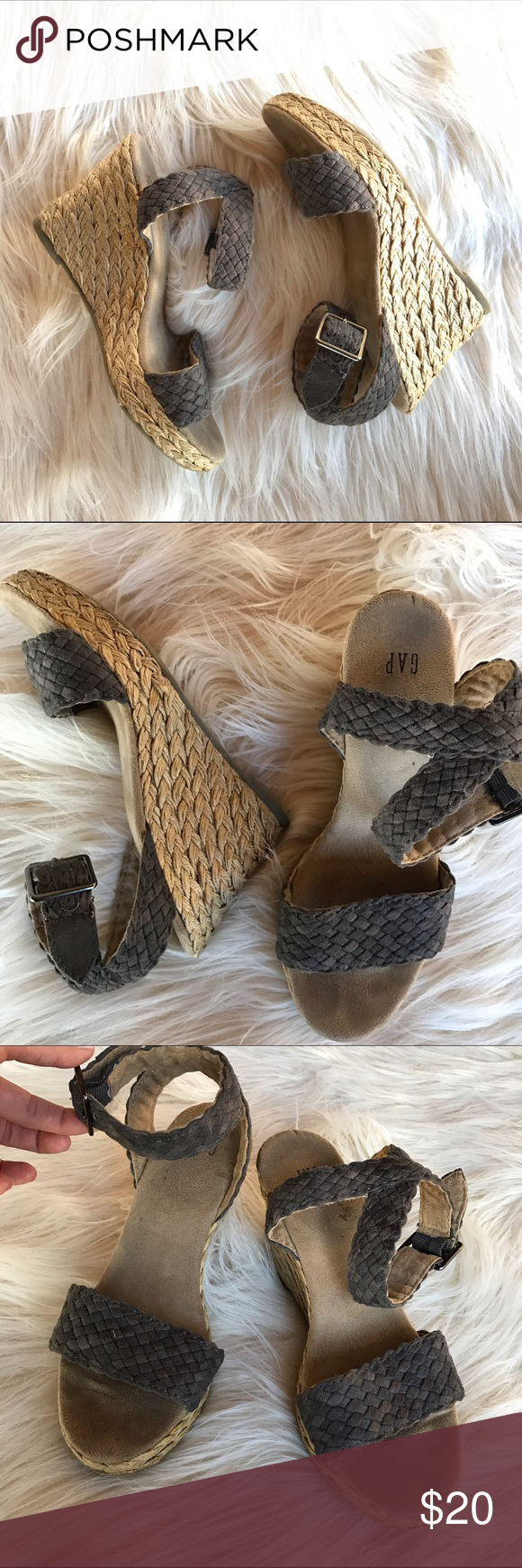 • Braided Wedges • Braided jute wedges with strap ankle closure. Approx 3 inch heel with platform toe. Comfortable & cute with skinny jeans or shorts. EUC - no scuffs on toe or heel. Size 7. Brand: Gap GAP Shoes Sandals