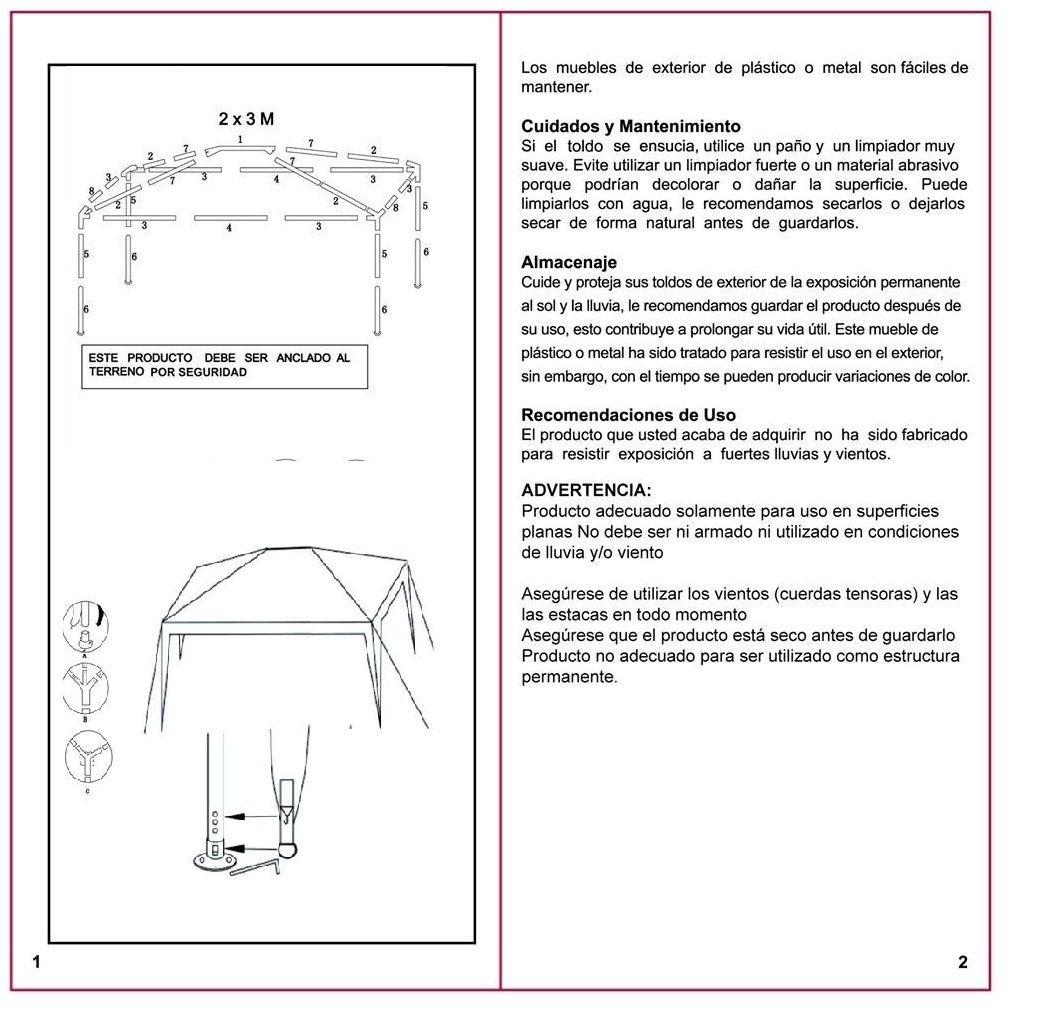 Sillones 3x2.Manual Armado Toldo Rectangular 3x2 Metro Sodimac Sku 113654